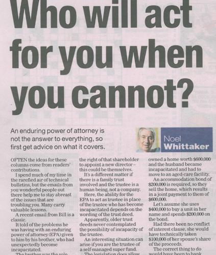 Noel Whittaker Turnbull Hill Lawyers article